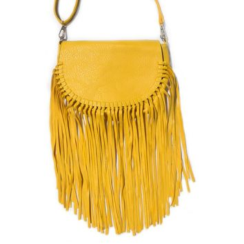 """Delilah"" Vegan Leather Saddle Bag Fringe Hippie Purse"