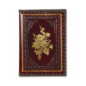 Burgundy Victorian Roses Leather Refillable Journal - Embossing Gift Item