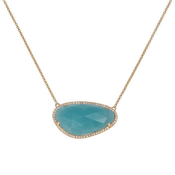 Amazonite Necklace with Diamonds