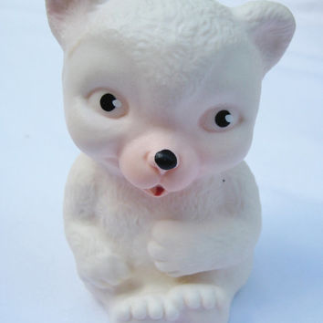 Vintage Rubber Squeak Toy Bear White Clean Still Squeaks Very Gently Used