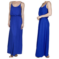 "CLOSEOUT~""Delicate Me"" Adjustable Cami Strap Long Dazzling Blue Maxi Dress"