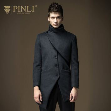 Peacoat Real Half Regular Square Collar Solid Single Breasted Pinli 2016 New Winter Men In The Slim Wool Coat Jacket B164102002