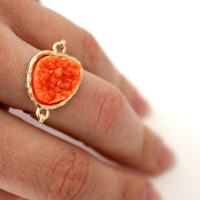 Druzy orange ring 14kt gold filled - custom size