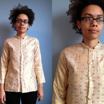 Gold and white button down Indian style shirt