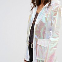 Missguided Petite Holographic Rain Coat at asos.com