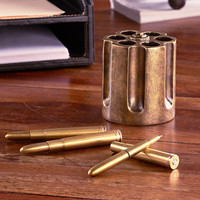 Revolver Pen Holder Bullet Pens Shells Gun Desk Western Country Bronze