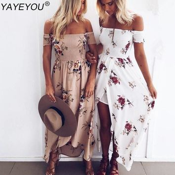 YAYEYOU Boho Style Long Dress Women Off Shoulder Beach Summer Dresses Floral Print Vintage Chiffon White Maxi Dress