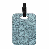 "Maike Thoma ""Layered Circles Design"" Blue Floral Decorative Luggage Tag"