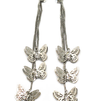pretty butterfly and crystal silver earrings