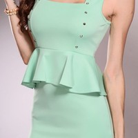 Mint Peplum Spiky Studded Decor Sleeveless Sexy Party Dress