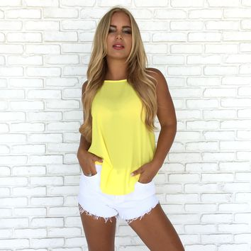 Summer Basic Tank Top In Yellow