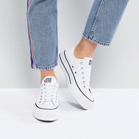 Converse Chuck Taylor All Star Platform Ox Trainers In White at asos.com