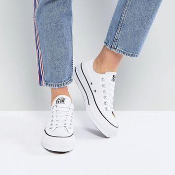 Converse Chuck Taylor All Star Platform Ox Trainers In White at c5eef3af0c