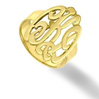 """Designer Personalized Initials Ring 0.8"""" Sterling Silver w/ 24K Gold"""