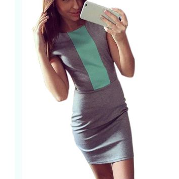 2017 Sexy summer dress women fashion pink gray color block tight fitted dresses ladies sexy bodycon zipper back dress J3271