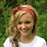Red Rosie Wired Headband in Bandana Print Summer Trend Headwrap