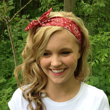 Red Rosie Wired Headband in Bandana Print Summer Trend Headwrap 8f180033919
