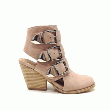 Step out in style with these Charming Tripper Cut-Out Ankle Bootie by Jeffrey Campbell. Featuring cow suede upper & soft leather underlining, cut-out design with three adjustable buckle closure & side pale pink color zipper closure, low hidden platform, st