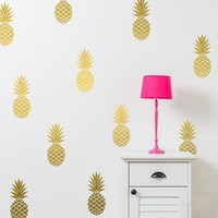 Removable Pineapples Wall Decal, Large 12 Pineapples Sticker Nursery Wall Decal Party Decor Free Shipping