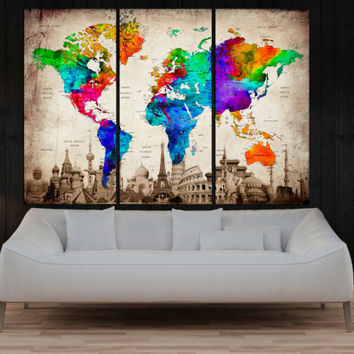 3 panel Push Pin world map wall art canvas, framed art print, modern art travel map, large abstract print for wall decor No:9S82