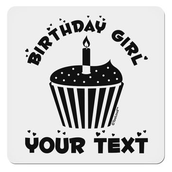 "Personalized Birthday Girl Cupcake -Customizable- Name 4x4"" Square Sticker"