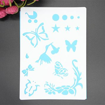 Butterfly Lace Heart Masking Spray Stencil For Walls Painting Embossing Paper Crafts Scrapbook Stamp DIY Tools Photo Album Card