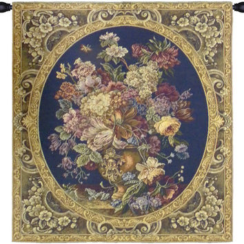 Floral Composition in Vase Dark Blue Tapestry Wall Art Hanging