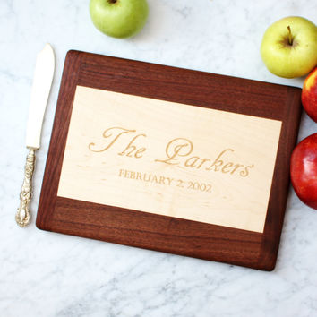 Personalized mixed hardwoods Cutting Board