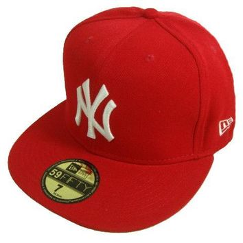 hcxx New York Yankees New Era MLB Authentic Collection 59FIFTY Cap Red-White