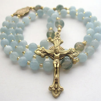 Aquamarine Rosary, Catholic Prayer Beads, Aquamarine Beads, Catholic Gift, Sacred Heart of Jesus, March Birthstone