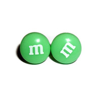 Kawaii Candy Earrings, Green Candy Stud Earrings, Chocolate MnM's