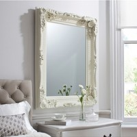 Carved Louis Mirror Cream | White Painted Louis Mirror | French Shabby Chic Mirror