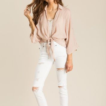 Alexis Blush Tie Front Top