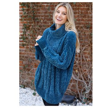 Cozy Me, Oversized Chenille Turtleneck Teal Sweater