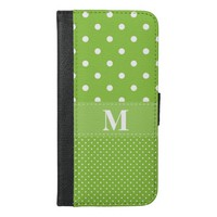 Lime Green Polka Dot Pattern iPhone 6/6s Plus Wallet Case