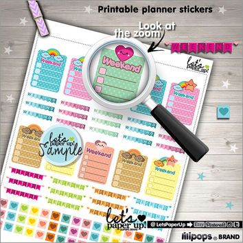 Printable Planner Stickers, Checklist Stickers, Weekend Stickers, Labels School, Kawaii Stickers, Instant Download, Planner Accessories, DIY