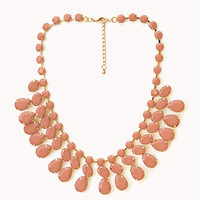 FOREVER 21 Faceted Faux Stone Necklace Peach/Gold One