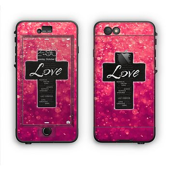 The Love is Patient Cross over Unfocused Pink Glimmer Apple iPhone 6 LifeProof Nuud Case Skin Set