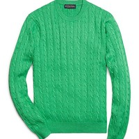 Supima® Cable Crewneck Sweater - Brooks Brothers