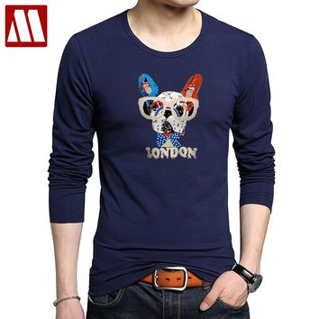 New 2018 Summer Fashion French Bulldog Design Long Sleeve T Shirt Men's High Quality Funny dog Tops Printed Hipster Tops Tees