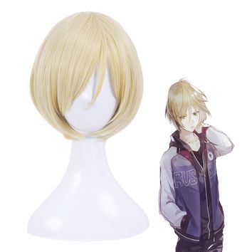 Yuri!!! on Ice Plisetsky Yuri Men's Blonde Short Straight Cosplay Full Wig Costumes