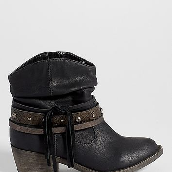 Joan western style ankle bootie in black | maurices