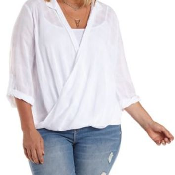 Plus Size White Twisted Hem High-Low Collared Top by Charlotte Russe
