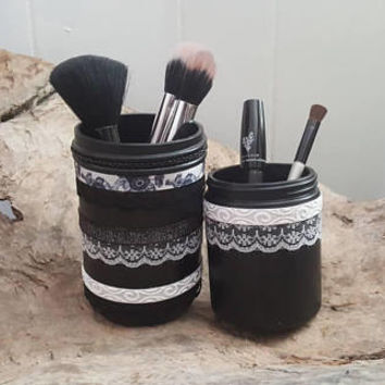 Makeup Brush Holder Set, Handmade, Luxury Decor, Vintage Jar, Makeup Collection, Dorm Room Decor, Vanity Makeup Holder, Cosmetics Organizers