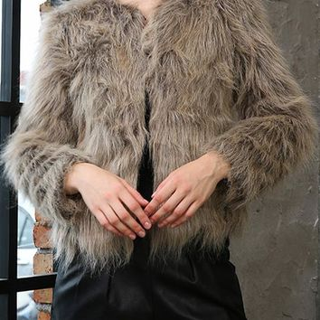 New Coffee Faux Fur Round Neck Long Sleeve Fashion Coat
