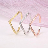 womens vintage adjustable crystal ring gift 13