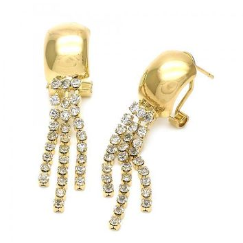 Gold Layered 5.125.026 Long Earring, with  Cubic Zirconia, Golden Tone