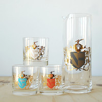 Vintage Coat of Arms Bar Set Cocktail Pitcher with Three Glasses Gold Leaf