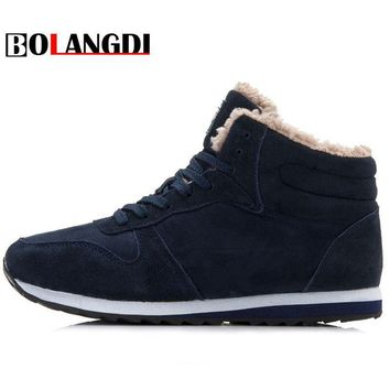 Bolangdi Genuine Leather Winter Men Women Boots Warm Plush Sneakers Brand Outdoor Unis