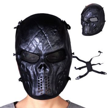 Black CS Game Full Face Skull Skeleton Mask Airsoft Paintball Safety Protection Mesh Halloween Cosplay Shooting Skirmash Decor